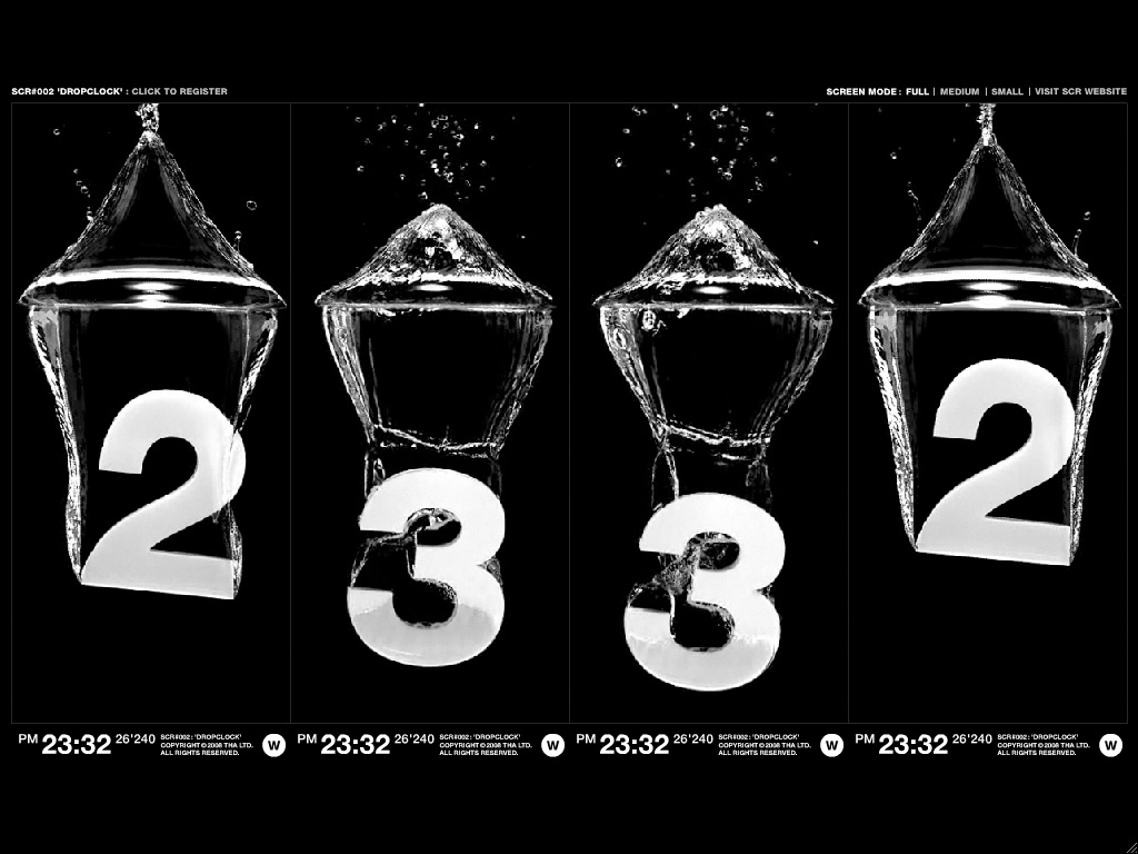 Beautiful screensaver with numbers dropping into water